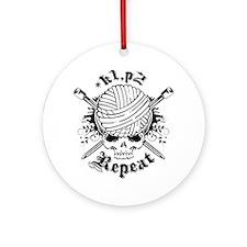 Knitting Skull Black Ornament (Round)
