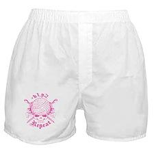 Knitting Skull Pink Boxer Shorts