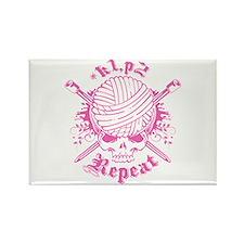 Knitting Skull Pink Rectangle Magnet