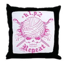 Knitting Skull Pink Throw Pillow