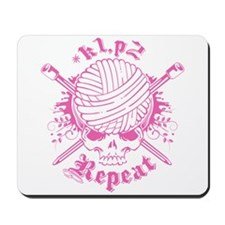 Knitting Skull Pink Mousepad