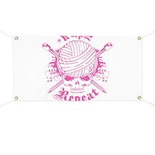 Knitting Skull Pink Banner