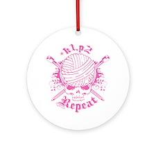 Knitting Skull Pink Ornament (Round)