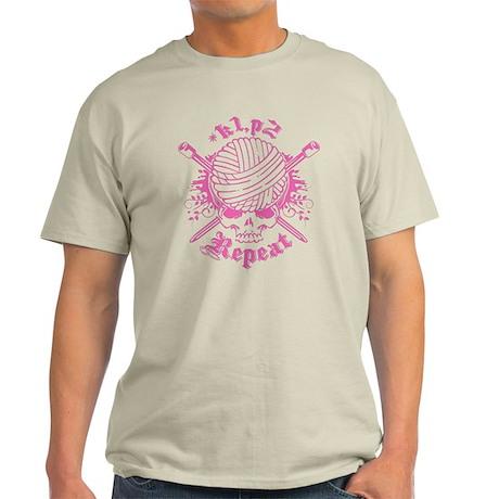 Knitting Skull Pink Light T-Shirt