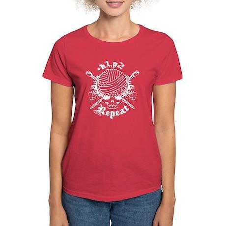 Knitting Skull White Women's Dark T-Shirt