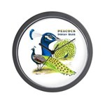 Peacock in Blue Wall Clock