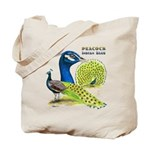 Peacock in Blue Tote Bag