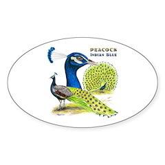 Peacock in Blue Oval Sticker (10 pk)