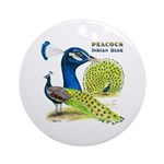 Peacock in Blue Ornament (Round)