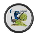 Peacock in Blue Large Wall Clock