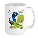 Peacock in Blue Large Mug