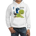 Peacock in Blue Hooded Sweatshirt