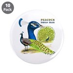 "Peacock in Blue 3.5"" Button (10 pack)"