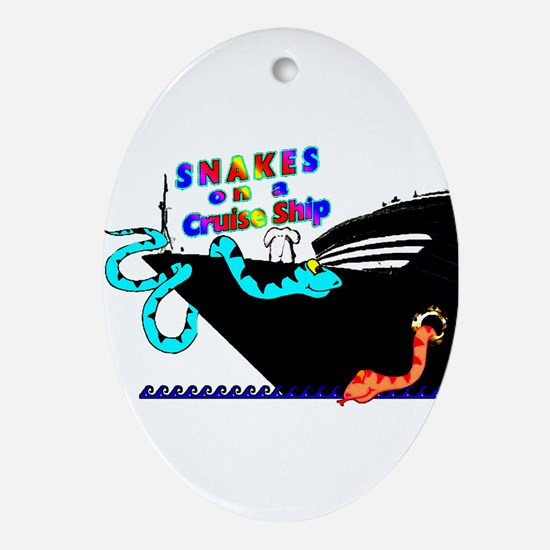 Snakes on a Cruise ship Oval Ornament