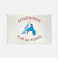 60th Lovebirds Rectangle Magnet