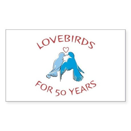 50th Lovebirds Rectangle Sticker