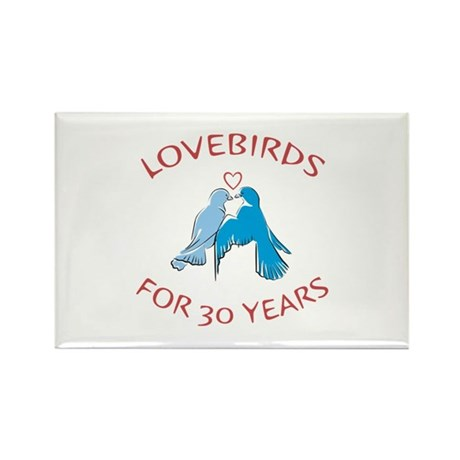 30th Lovebirds Rectangle Magnet (100 pack)
