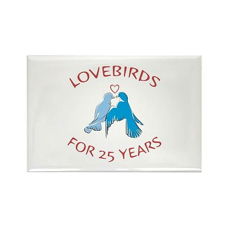 25th Lovebirds Rectangle Magnet