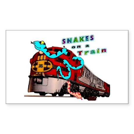 Snakes on a Train Rectangle Sticker