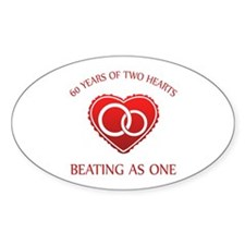 60th Heart Rings Oval Decal