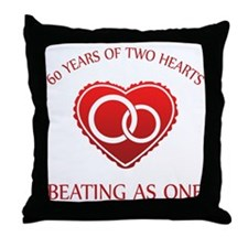 60th Heart Rings Throw Pillow