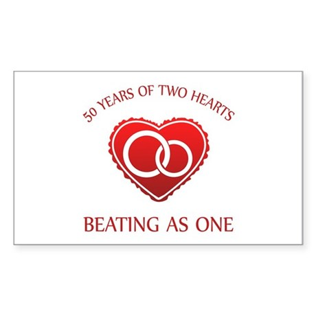 50th Heart Rings Rectangle Sticker