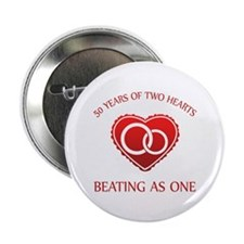 "50th Heart Rings 2.25"" Button"
