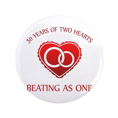 "50th Heart Rings 3.5"" Button"