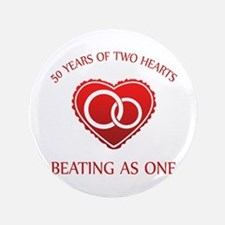 """50th Heart Rings 3.5"""" Button"""