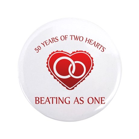 """50th Heart Rings 3.5"""" Button (100 pack)"""