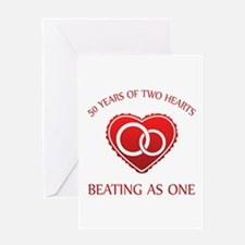 50th Heart Rings Greeting Card