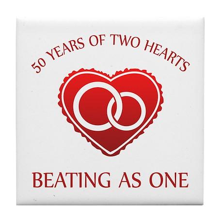 50th Heart Rings Tile Coaster