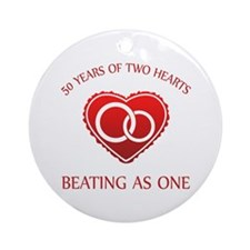 50th Heart Rings Ornament (Round)
