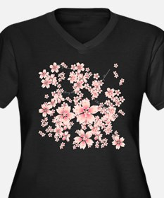 Cherry blossoms Women's Plus Size V-Neck Dark T-Sh