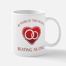 45th Heart Rings Mug