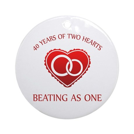 40th Heart Rings Ornament (Round)