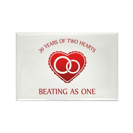 30th Heart Rings Rectangle Magnet