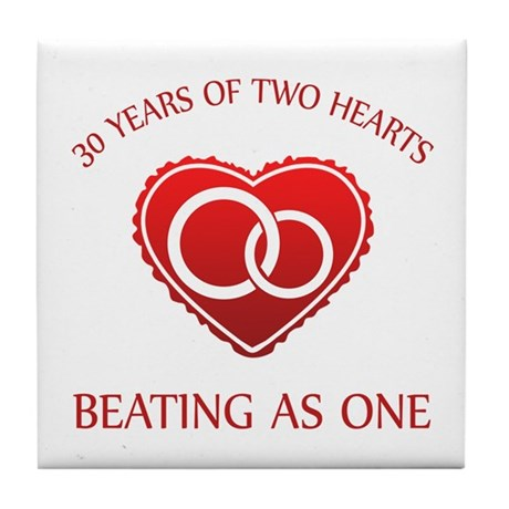 30th Heart Rings Tile Coaster