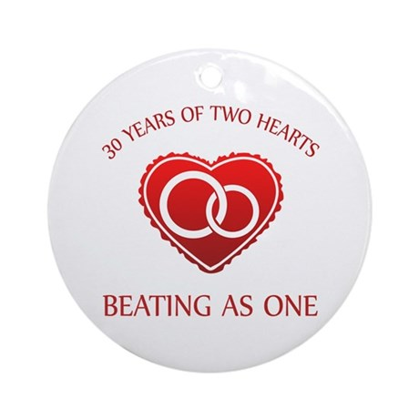 30th Heart Rings Ornament (Round)