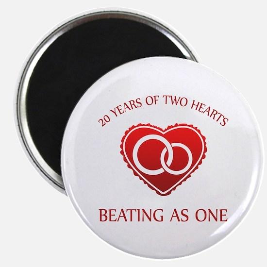 20th Heart Rings Magnet