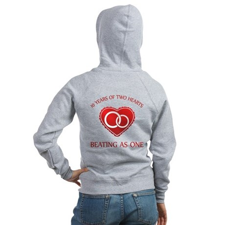 10th Heart Rings Women's Zip Hoodie