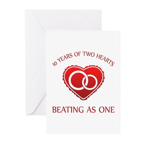 10th Heart Rings Greeting Cards (Pk of 10)
