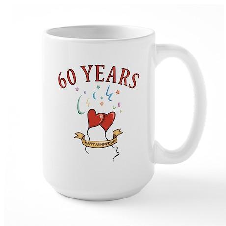 60th Festive Hearts Large Mug