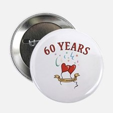 "60th Festive Hearts 2.25"" Button"