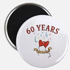 60th Festive Hearts Magnet