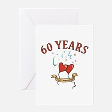 60th Festive Hearts Greeting Card