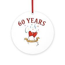 60th Festive Hearts Ornament (Round)