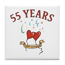55th Festive Hearts Tile Coaster