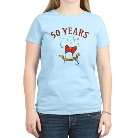 50th Festive Hearts Women's Light T-Shirt