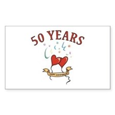 50th Festive Hearts Rectangle Decal